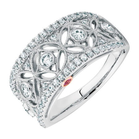 Michael Hill Designer Ring with 0.63 Carat TW of Diamonds in 14kt White & Rose Gold