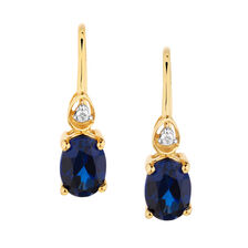 Drop Earrings with Sapphire & Diamonds in 10kt Yellow Gold