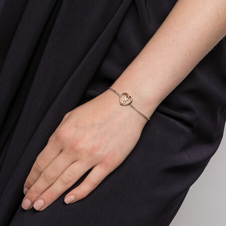 Infinitas Bracelet with Diamonds in Sterling Silver & 10kt Yellow Gold