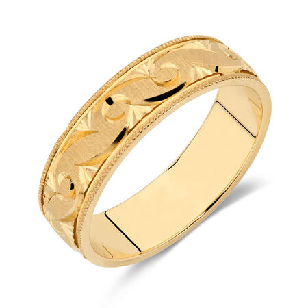 Men's Wedding Band in 10kt Yellow Gold