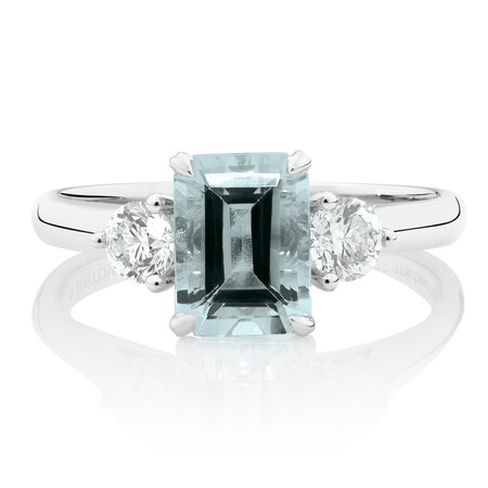 Ring with Aquamarine & 0.40 Carat TW of Diamonds in 10kt White Gold