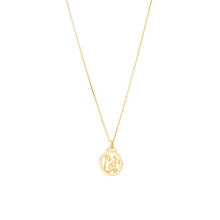 Aquarius Zodiac Pendant with Chain in 10kt Yellow Gold