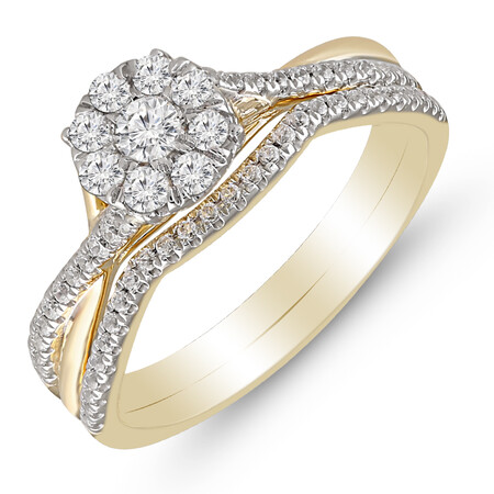 Bridal Set with 0.50 Carat TW of Diamonds in 10kt Yellow & White Gold