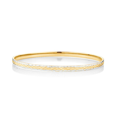 Patterned Bangle in 10kt Yellow & White Gold