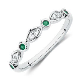 Stacker Ring with Natural Emerald & Diamonds in 10kt White Gold