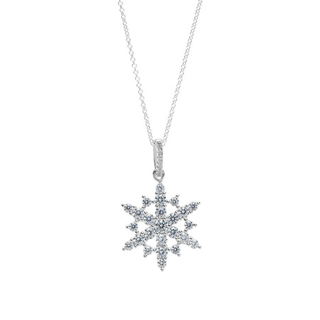 Pave Snowflake Pendant with White Cubic Zirconia in Sterling Silver