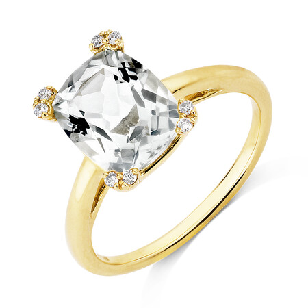 Ring with Green Amethyst & Diamonds In 10kt Yellow Gold