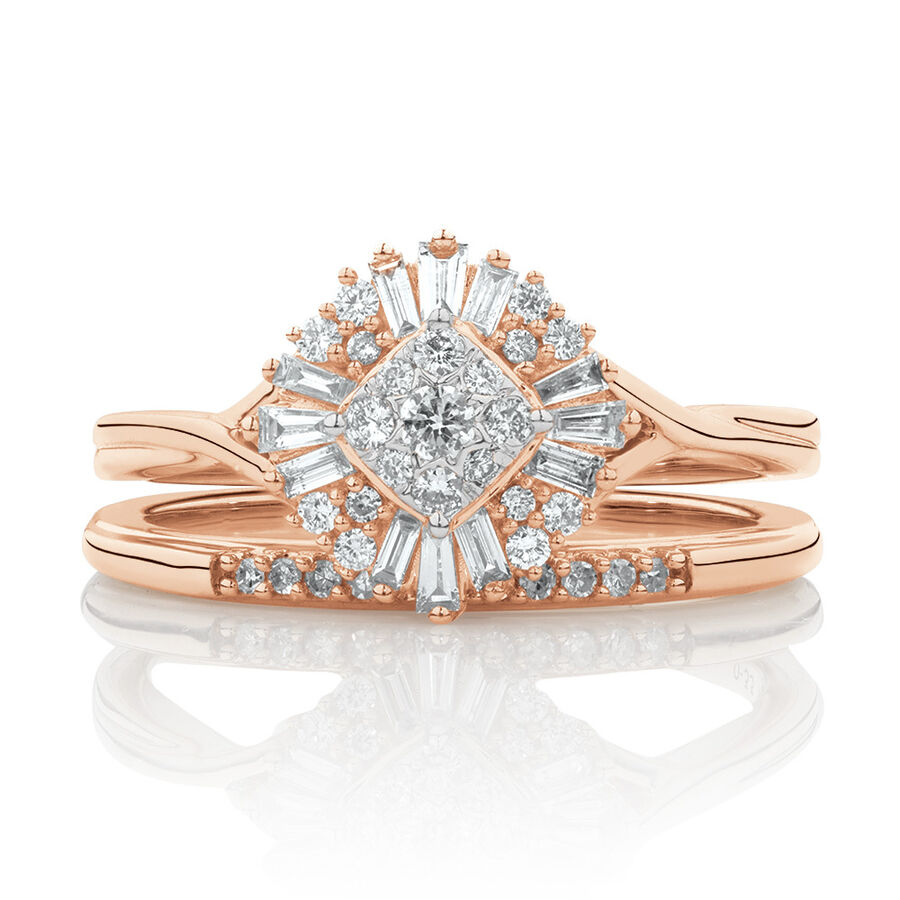 Evermore Bridal Set with 3/8 Carat TW of Diamonds in 10kt Rose Gold
