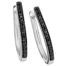 City Lights Hoop Earrings with Enhanced Black Diamonds in Sterling Silver
