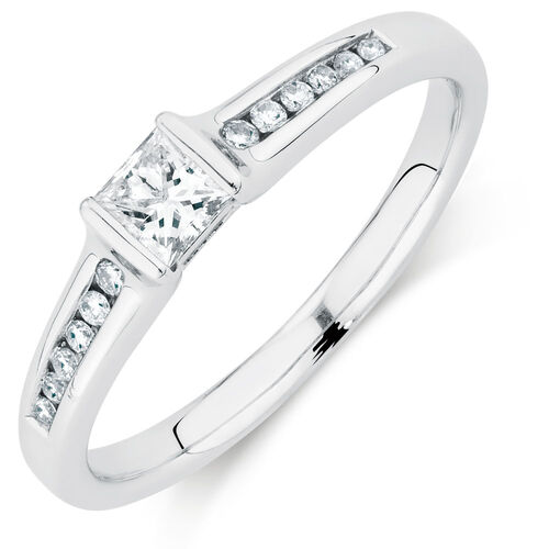 Engagement Ring with 0.30 Carat TW of Diamonds in 18kt White Gold