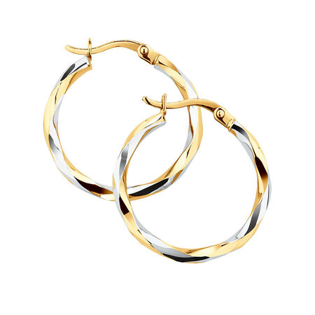 Twist Hoop Earrings in 10kt White & Yellow Gold