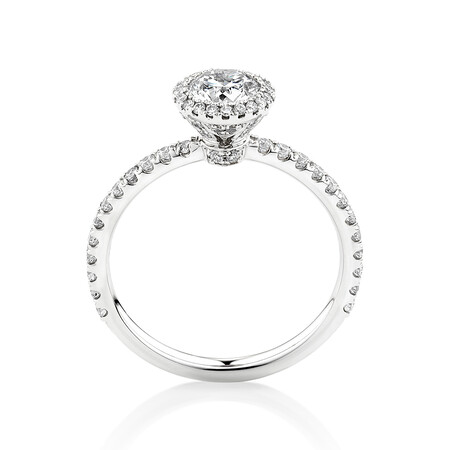 Sir Michael Hill Designer Halo Engagement Ring with 1.0 Carat TW of Diamonds in 18kt White Gold