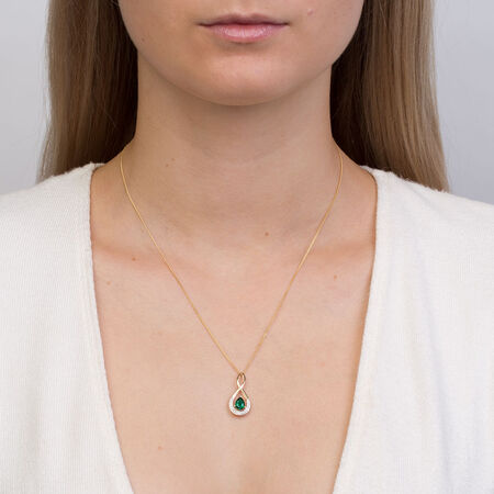Pendant with Created Emerald & Diamonds in 10kt Yellow & White Gold