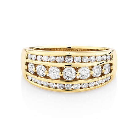 Three Row Ring with 1 Carat TW of Diamond in 10kt Yellow Gold