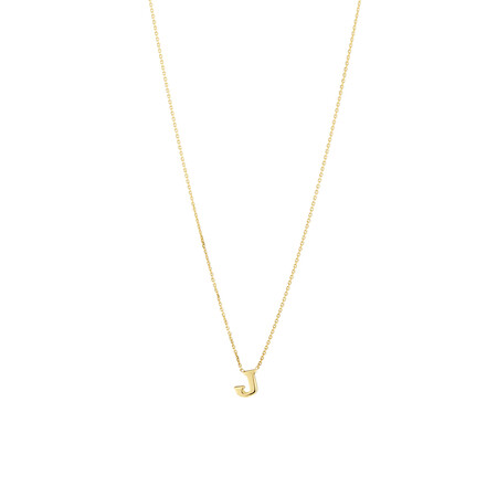 """""""J"""" Initial Necklace in 10kt Yellow Gold"""