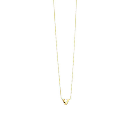 """""""V"""" Initial Pendant in 10kt Yellow Gold"""