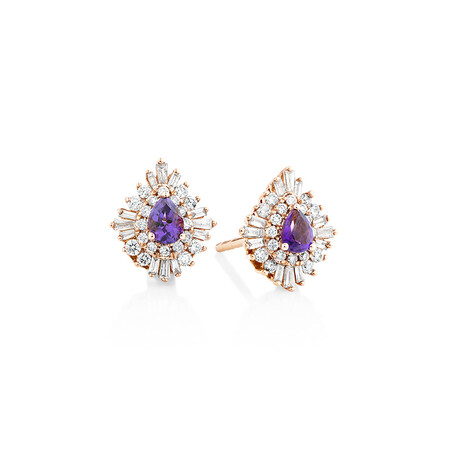 Ballerina Earrings with Amethyst & 0.50 Carat TW of Diamonds in 10kt Rose Gold