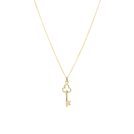 Polished Key Pendant in 10kt Yellow Gold