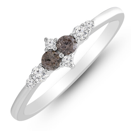 Ring with 0.25 Carat TW of White & Brown Diamonds in 10kt White Gold