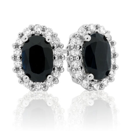 Online Exclusive - Stud Earrings with Sapphire & 0.19 Carat TW of Diamonds in 10kt White Gold