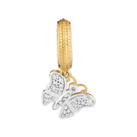 Diamond Set & 10kt Gold Butterfly Charm