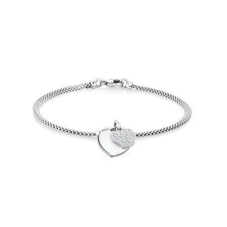 """19cm (7.5"""") Double Heart Bracelet in Sterling Silver"""