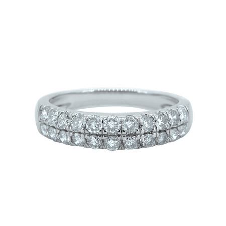 Two Row Ring with 1 Carat TW of Diamonds in 10ct White Gold