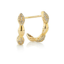 Online Exclusive - Half Hoop Earrings with 0.18 Carat TW of Diamonds in 10kt Yellow Gold