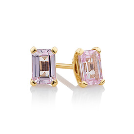 Stud Earrings with Created Pink Sapphire in 10kt Yellow Gold