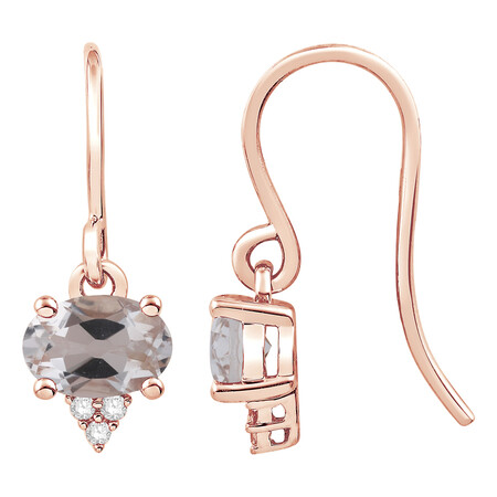 Earrings with Morganite & Diamond in 10kt Rose Gold
