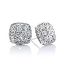 Cluster Stud Earrings with 2 Carat TW of Diamonds in 10kt White Gold