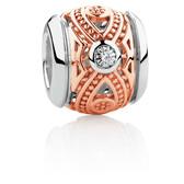 Diamond Set Patterned Charm in 10kt Rose Gold & Sterling Silver