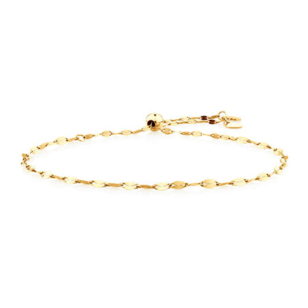 Adjustable Bolo Bracelet In 10kt Yellow Gold