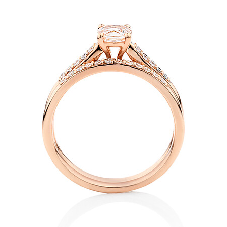 Evermore Bridal Set with Morganite & 1/5 Carat TW of Diamonds in 10kt Rose Gold