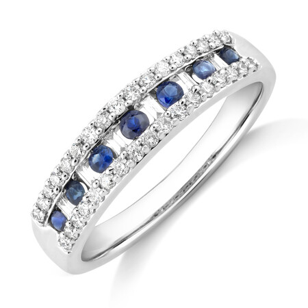 Natural Blue Sapphire Ring with 0.29 Carat TW of Diamonds In 10kt White Gold