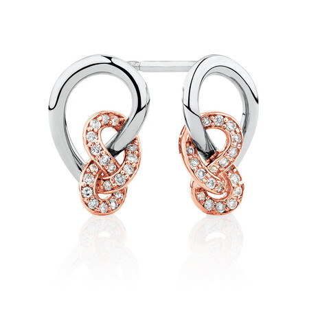 Knots Earrings with 0.16 Carat TW of Diamonds in Sterling Silver & 10kt Rose Gold