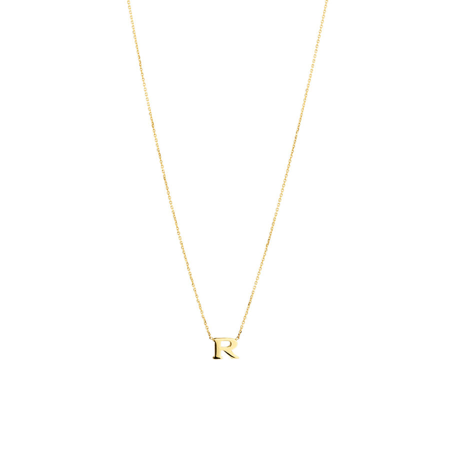 """R"" Initial Necklace in 10kt Yellow Gold"
