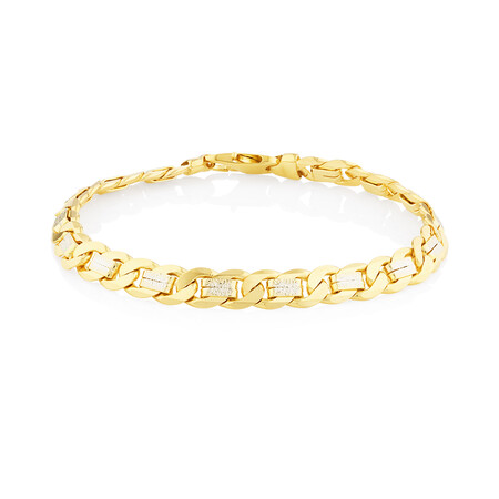 """23cm (9.5"""") Curb Bracelet In 10kt Yellow And White Gold"""