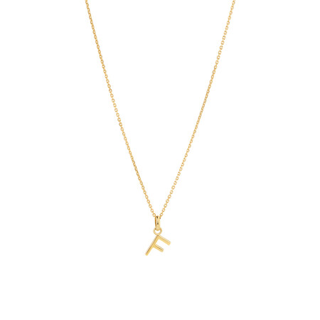 """""""F"""" Initial Pendant with Chain in 10kt Yellow Gold"""