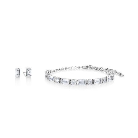 Earring & Bracelet Set Featuring Round And Emerald Cubic Zirconia