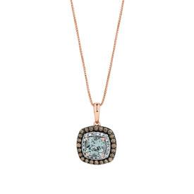 Pendant wiht 1/3 Carat TW White & Brown Diamonds & Aquamarine in 14kt Rose Gold