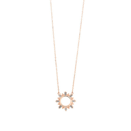 Circle Necklace With 0.12 Carat TW Diamonds In 10kt Rose Gold