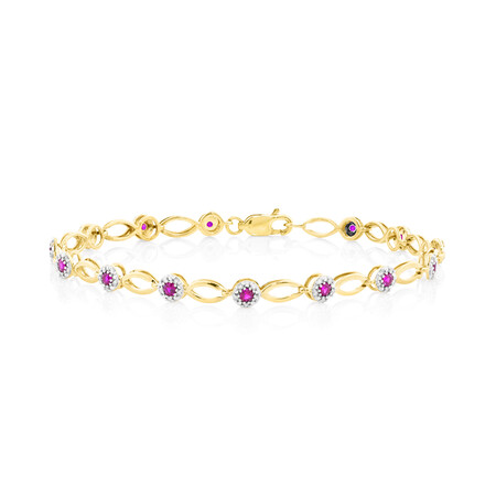 Halo Bracelet With Diamonds And Created Ruby In 10kt Yellow Gold