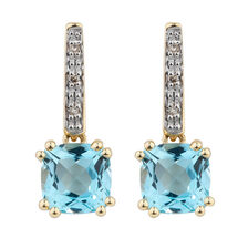 Drop Earrings with Blue Topaz & Diamonds in 10kt Yellow & White Gold