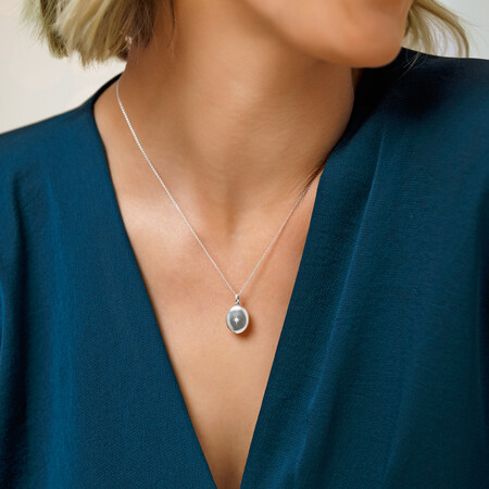 Mini Oval Locket Pendant with Cubic Zirconia in Sterling Silver