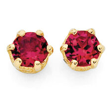 Stud Earrings with Created Ruby in 10kt Yellow Gold