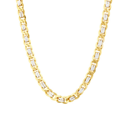 """55cm (21.6"""") Curb Chain In 10kt Yellow And White Gold"""