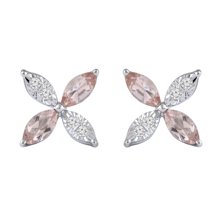 Flower Earrings with Diamond & Natural Morganite in 10kt White Gold