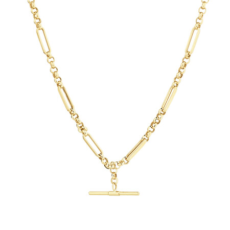 50cm Hollow Belcher Fob Necklace in 10kt Yellow Gold