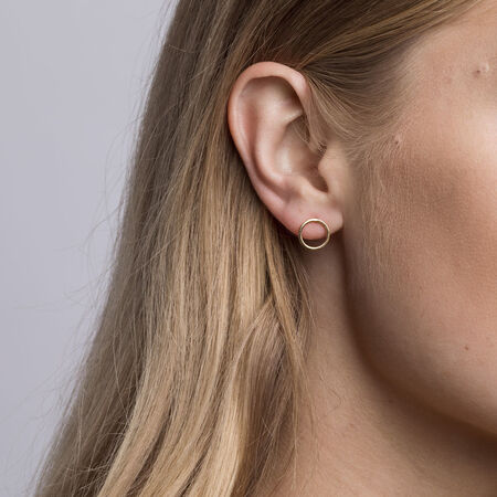 Open Circle Stud Earrings in 10kt Yellow Gold